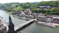 WS HA Citadelle of Dinant to church Notre Dame and river Meuse / Dinant, Wallonia, Belgium