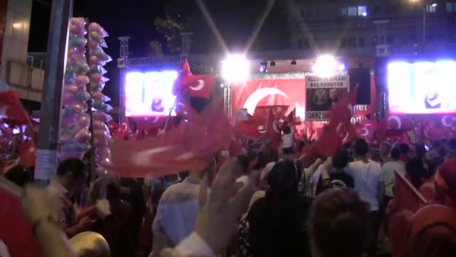 Citizens gather at Demokrasi square to protest the Fetullah Terrorist Organization's July 15 coup attempt and to show solidarity with the Turkish...