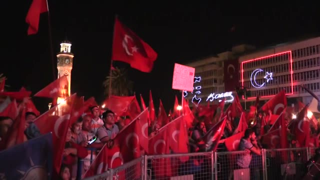 Citizens gather at Konak square to protest the Fetullah Terrorist Organization's July 15 coup attempt and to show solidarity with the Turkish...