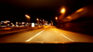 City Car drive at night timelapse
