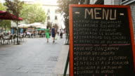 City center of Madrid: restorant menu in the streets