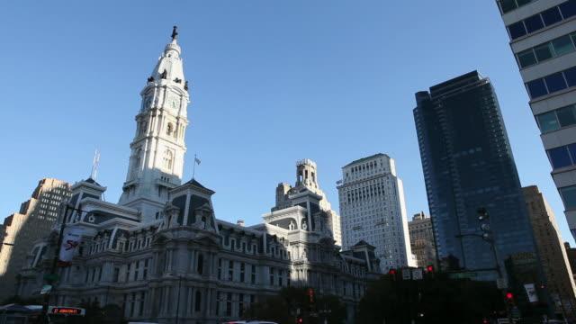 LA City Hall building against blue sky / Philadelphia, Pennsylvania, United States