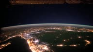 / city lights over the Middle East as seen from the International Space Station / views from northwest Sudan to the Caspian Sea / Nile River Cairo...