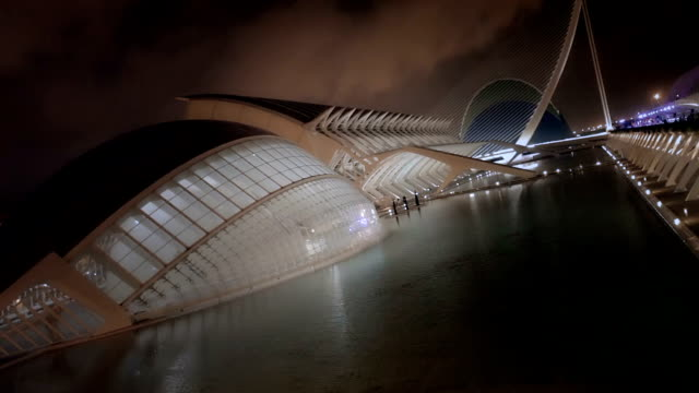 City of Arts and Science Valencia Spain Night Time Zoom
