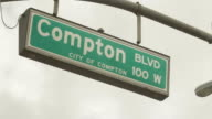 City of Compton street sign with moving dark clouds above