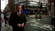 Police officer writing out notice of fine for cyclist Inspector David Aspinall interview SOT Reporter to camera London INT Wendy Relph typing at...