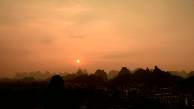 City of the famous karst in sunset 02