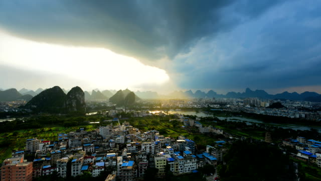 City of the famous karst in the sunset
