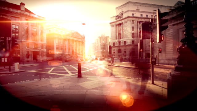 City pedestrian crossing time lapse in sunset. HD