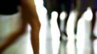 City People Walking In Station Medium Shot