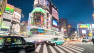 City Street Night Life With Crowd People On Zebra Crosswalk In Shinjuku Town, Tokyo, Japan