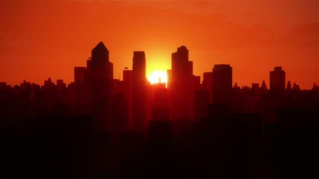 Stadt vom Flugzeug bei Sonnenaufgang