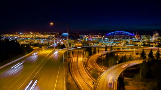 SEATTLE city time-lapse freeway traffic