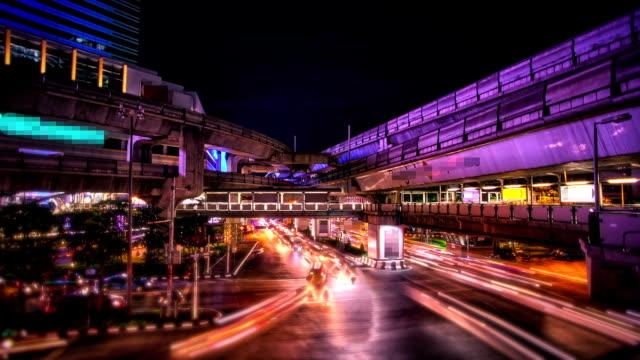 City traffic Time lapse at night