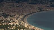 AERIAL Cityscape and coastline/ Nice, France