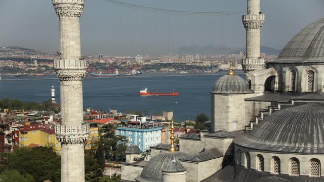 T/L MS HA Cityscape as seen through minarets of Blue Mosque, Istanbul, Turkey
