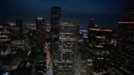 AERIAL cityscape at night  Houston  Texas  USA