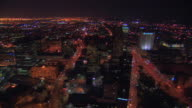 AERIAL, Cityscape at night, Newark, New Jersey, USA
