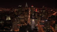 AERIAL, cityscape at night, Philadelphia, Pennsylvania, USA