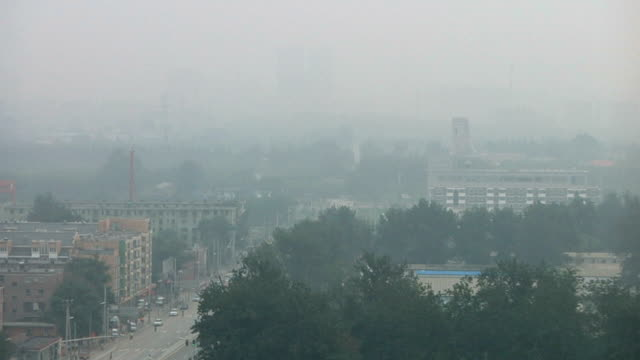 WS HA Cityscape in cloud of haze and pollution / Beijing, China