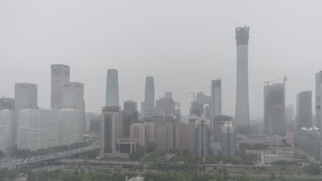T/L HA PAN Cityscape of Beijing in air pollution / Beijing, China