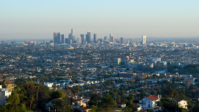 T/L WA Cityscape of Los Angeles transition day to night / Los Angeles, CA, USA