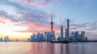 cityscape of modern city with sunrise in shanghai,timelapse,4K