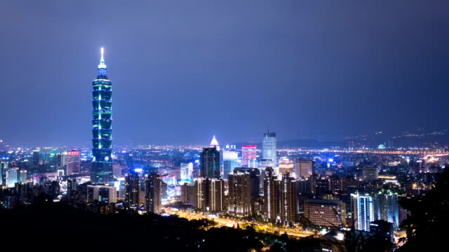 cityscape of modern city,taipei,time lapse