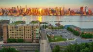 Cityscape skyscraper time lapse New York City Manhattan 2017 dusk