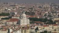 AERIAL WS Cityscape with Church of Santa Engracia / Lisbon, Portugal
