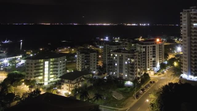 T/L WS HA PAN Cityscape with harbor at night / Darwin, Northern Territory, Australia