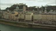WS HA Cityscape with Hohensalzburg Fortress on hilltop / Salzburg, Austria