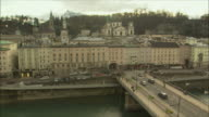 WS HA PAN Cityscape with Hohensalzburg Fortress on hilltop / Salzburg, Austria