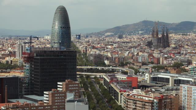 T/L ZO WS Cityscape with La Sagrada Familia, Torre Agbar and Avinguda Diagonal / Barcelona, Catalonia, Spain