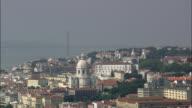 AERIAL WS Cityscape with Monastery of Sao Vicente de Fora / Lisbon, Portugal