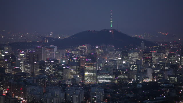 WS HA Cityscape with N Seoul Tower on hill at night / Seoul, South Korea