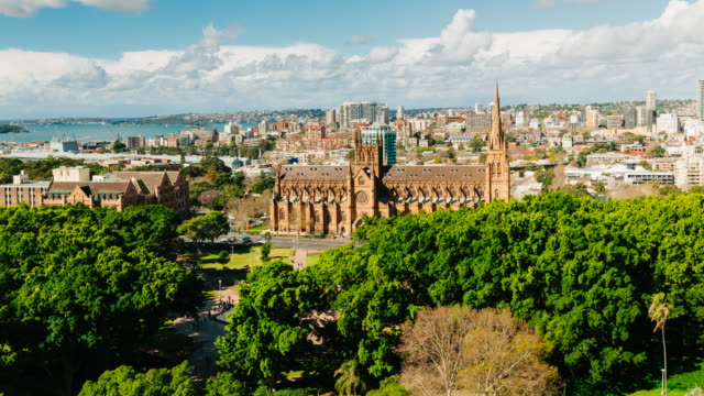 4K Cityscapes Time-lapse: St Mary's Cathedral and Hyde Park, Sydney