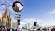 4K Cityscapes & Establishers: 4K Time lapse of Traffic mirror, people and trams, Melbourne