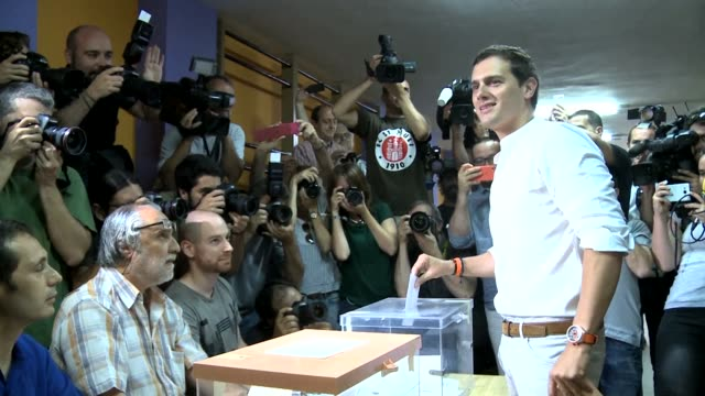Ciudadanoss leader 36 year old Albert Rivera casts his ballot in Spains repeat election