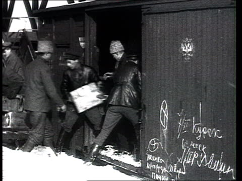 Civil war 1918 Munitions for the Red Army troops Train station in winter unloading crates from a train wagon