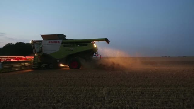 A Claas 780 Lexion combine harvester operates in a field of wheat during summer harvest at sunset on a farm near Saffron Walden UK on Tuesday July 29...