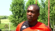 Clarence Seedorf interview package 18508 Milan EXT Clarence Seedorf with reporter Mark Bishop Clarence Seedorf interview SOT says he still enjoys...