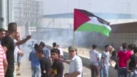 Clashes between Palestinians and Israeli forces were ongoing near the Erez crossing on the northern border of the Gaza Strip east of Gaza City on...