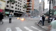Clashes occurred between police and squatters resisting eviction from the Hotel Aquarius in central Sao Paulo Brazil on September 16 2014 At least 70...