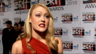 nominations launch Camilla Kerslake interview SOT On her outfit / being nominated / how her life has changed / having Gary Barlow on speed dial /...
