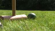 exteriors anonymous person playing croquet on the lawn outside Agatha Christies house Playing croquet on Agatha Christies lawn at Greenway on...