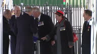 Exterior shot Her Majesty The Queen arrives wearing a blue coat and hat at war memorial service with Prince Phillip Duke of Edinburgh meets and...