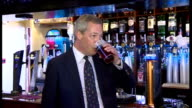 Exterior shots Niqgel Farage UKIP leader arriving in Ramsgate Interior shots Nigel Farage drinking beer ahead of meeting members of public Interior...