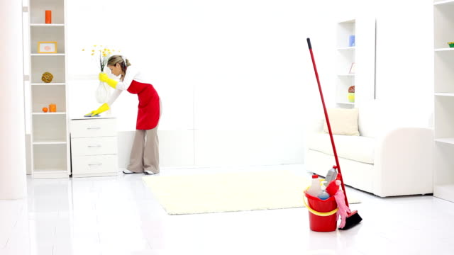 Cleaning lady finishing work.