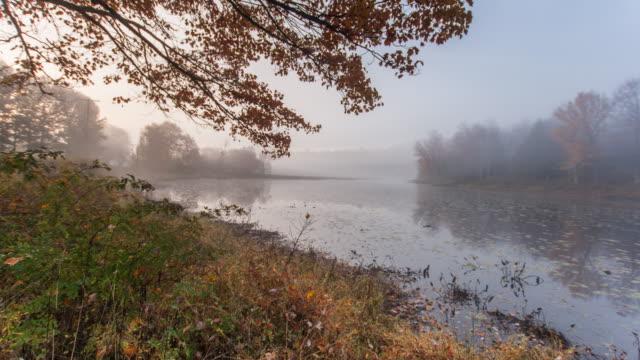 Clearing fog over fall lake